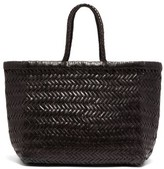 Dragon Optical Diffusion - Triple Jump Small Woven-leather Basket Bag - Womens - Black