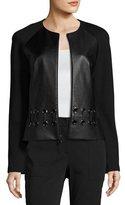 St. John Milano Knit & Leather Laced Jacket, Black