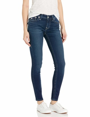 True Religion Women's Jennie Mid Rise Skinny Leg fit Jean with Back Flap Pockets