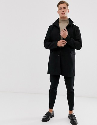 Selected recycled wool overcoat with funnel neck-Black