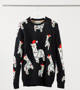 Another Influence Tall lit llama Christmas sweater