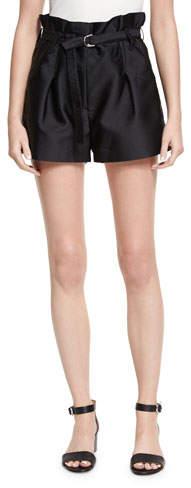 Satin Origami Shorts- Black