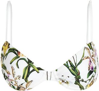 Agua Bendita Mostaza Floral Bikini Top