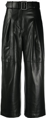 Self-Portrait Wide Leg Faux-Leather Trousers