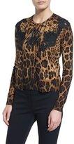 Dolce & Gabbana Lace-Inset Animal-Print Cardigan, Black/Natural