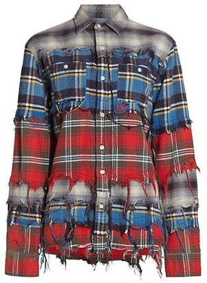 R 13 Pieced Plaid Shirt