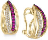 Effy Diamond (1/4 ct. t.w.) and Ruby (3/8 ct. t.w.) Rounded Stud Earrings in 14k Gold