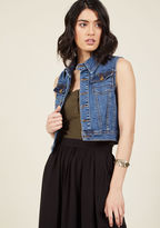 Transformative pieces are key to making your wardrobe work, meaning this denim vest will be the cornerstone of your entire collection! A ModCloth exclusive, this mid-wash layer - with its chest pockets, gold hardware, and cropped cut - is a perfect pairin