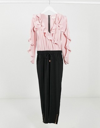 Ted Baker Bethane contrast ruffle jumpsuit in pink