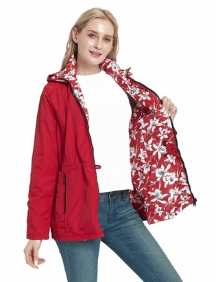 Bellivera Women's Casual Double Sided Coat Hooded The Thin Printed Jacket Worn on Both Sides Red XX-Large
