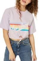 Topshop LA Rainbow Stripe T-Shirt