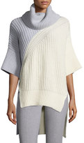 Derek Lam Bicolor Turtleneck 3/4-Sleeve Sweater, Ivory/Pale Gray