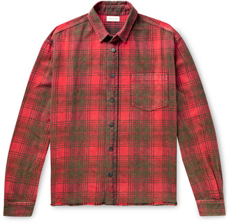 John Elliott Distressed Checked Cotton-Flannel Shirt