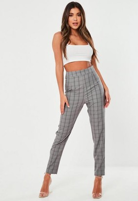 Missguided Dark Gray Co Ord Plaid Cigarette Pants