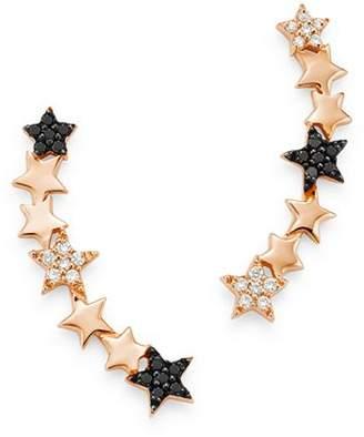 story. OWN YOUR 14K Rose Gold Cosmos Black & White Diamond Starburst Ear Climbers