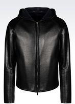 Emporio Armani Runway Blouson In Napa Leather With Hood