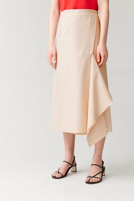 Cos Cotton-Linen Wrap Skirt With Asymmetric Drape