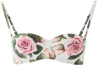 Dolce & Gabbana Balcony Bikini Top With Tropical Rose Print