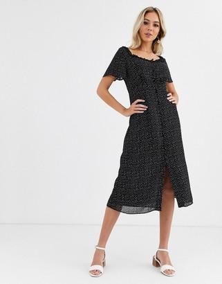 Glamorous bardot midi dress in polka dot