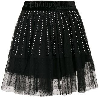 Philipp Plein Crystal Embellished Lace Skirt
