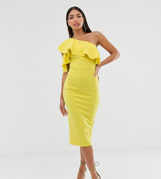 Asos Tall ASOS DESIGN Tall one shoulder ruffle detail midi dress