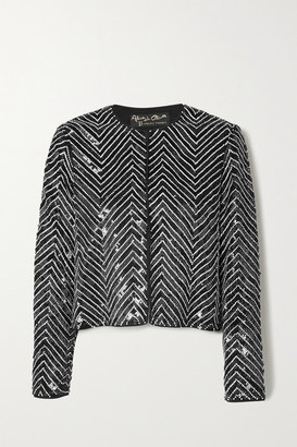 Alice + Olivia Kidman Crystal-embellished Sequined Silk Jacket - Black