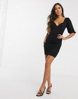 Asos Design DESIGN puff sleeve cup detail mini dress in black
