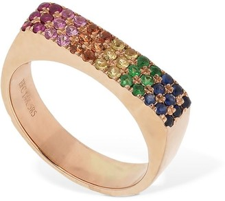 Ef Collection 14kt Gold Jumbo Rainbow Bar Ring
