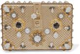 Dolce & Gabbana Dolce Box Embellished Metallic Python Clutch - Gold