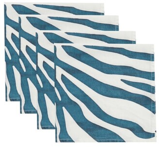 Summerill & Bishop - Set Of Four Zebra-print Linen Napkins - Blue