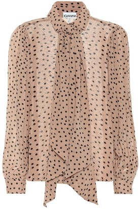 Ganni Polka-dot georgette tie-neck blouse