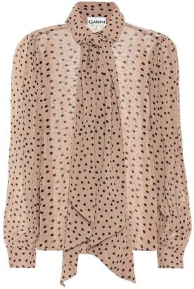 Ganni Polka-dot georgette tie-neck blouse