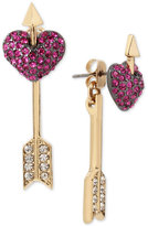 Betsey Johnson Two-Tone Pavé Heart and Arrow Front and Back Earrings
