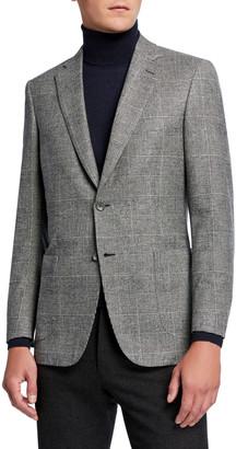 Brioni Men's Plaid Wool-Blend Sport Jacket