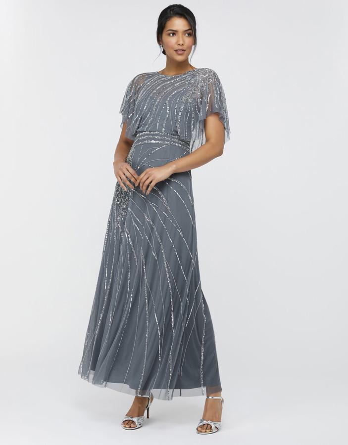 Monsoon Florence Embellished Flutter Sleeve Maxi Dress Blue