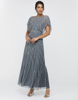 Monsoon Florence Embellished Flutter Sleeve Maxi Dress Blue
