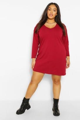 boohoo Plus Long Sleeve V Neck T-Shirt Dress