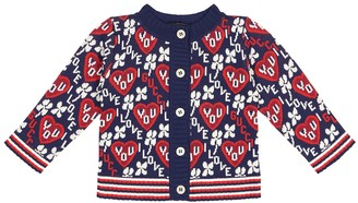 Gucci Kids Baby cotton-blend jacquard cardigan