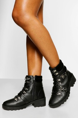 boohoo Wide Fit Buckle Detail Lace Up Hiker Boot