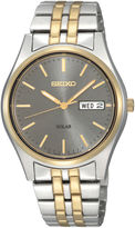 Seiko Mens Gray Dial Two-Tone Stainless Steel Solar Watch SNE042
