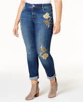INC International Concepts Plus Size Tummy Control Embroidered Boyfriend Jeans, Created for Macy's