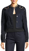 Elie Tahari Esperanza Embroidered Lace-Back Denim Jacket, Blue