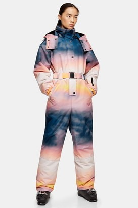 Topshop Womens **Ombre Printed Hooded Ski Snow Suit By Sno - Multi