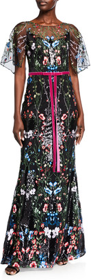 Marchesa Cape-Sleeve Multicolor Sequin Embroidered Gown