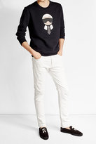 Fendi Karlito Embellished Sweatshirt with Wool and Cotton