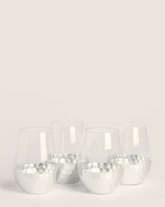 Fitz & Floyd 4-Piece Silver Daphne Stemless Goblet Set