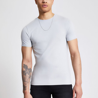 River Island Grey short sleeve muscle fit T-shirt
