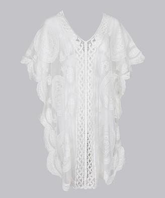 CELLABIE Women's Ponchos White - White Damask Lace Poncho - Women