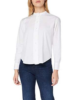 Gant Women's D1. Band Collar Broadcloth Shirt Long Sleeve Top, White 110, 12 (Size: )