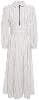 ALEXACHUNG Gathered Striped Cotton Midi Dress